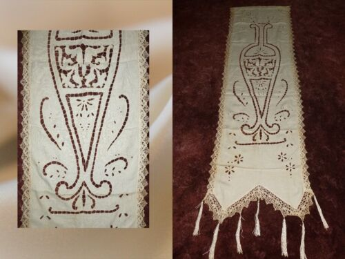 Antique Tapestry Sampler 1900s Needlework Lace Hand Embroidery Curtain Panel