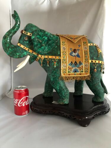 Chinese Vintage Antique Reproduction Large Malachite Elephant Carving 17W MD173