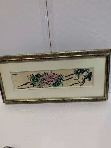 Marc Chagall stone lithograph plate signed Maeght published reclining nude 1952