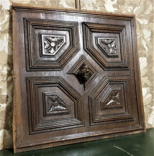 Lion rosette flower wood carving panel Antique french oak architectural salvage