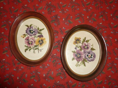 Pair Beautiful Antique Framed Needlepoint Tapestry Victorian Flowers Pansy