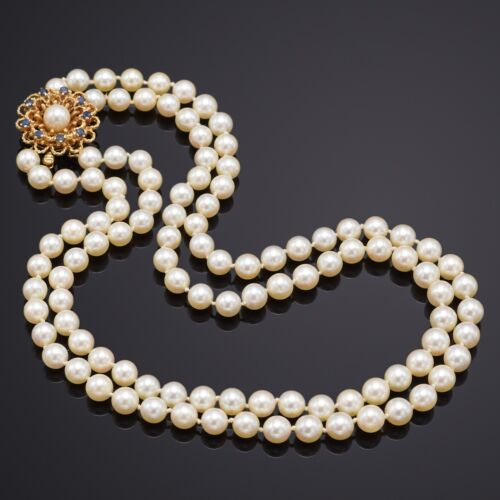 Vintage 14K Yellow Gold Sea Pearl & Sapphire Beaded Double Strand Necklace 52.7G