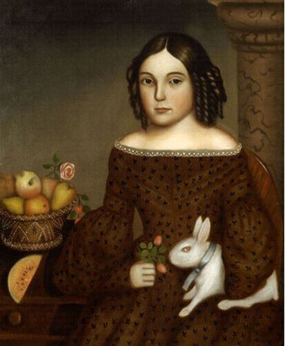"""oil painting handpainted on canvas """"a Young Girl with a White Rabbit"""""""