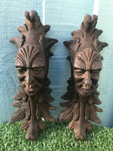 SUPERB PAIR: MID 19thC WOODEN OAK GOTHIC CARVED HEAD CORBELS WITH LEAVES c1860s <br/> PAIR CORBEL MALE HEAD CARVINGS, LEAF DECORATION & OTHER
