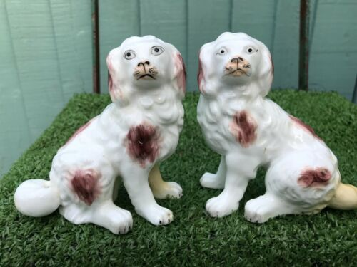 SUPERB PAIR: 19thC STAFFORDSHIRE PORCELLANEOUS DOGS, SEPARATE FRONT LEGS c1850s
