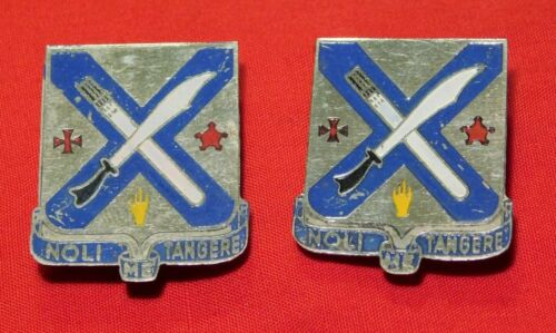 A+ Pair Vietnam War Beer Can Rank Insignia Pins for US Army 2nd Infantry