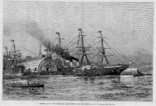 STEAMER SHIPS IN NEW YORK HARBOR TUGBOATS SEASCAPE RUSH FOR EUROPE NAUTICAL