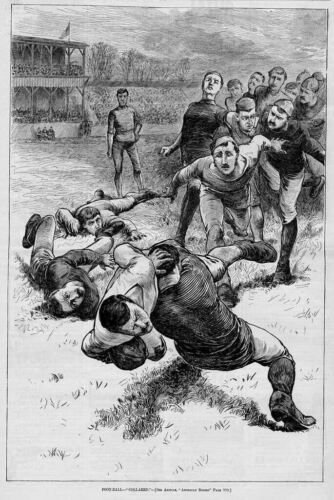 ANTIQUE FOOTBALL ENGRAVING, COLLARED TACKLED FOOTBALL
