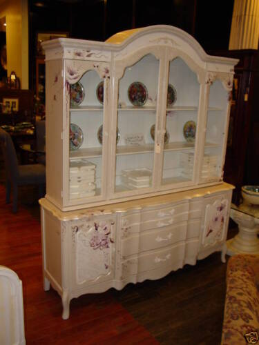 HANDPAINTED FLORALS FRENCH BREAKFRONT CHINA CABINET