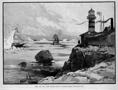 LIGHTHOUSE KEEPER SHIPS STRUGGLING WITH ICEBERGS OFF CAPE RACE WINTER NAUTICAL