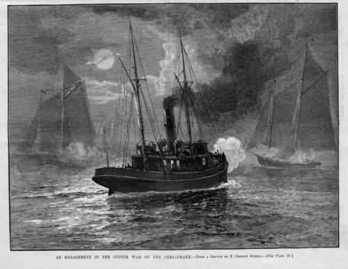OYSTER WAR ON THE CHESAPEAKE MOONLIGHT NAUTICAL SHIPS BOATS OYSTER WAR HISTORY