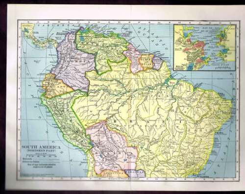 Century-Old 1904 COLOR MAP - South America