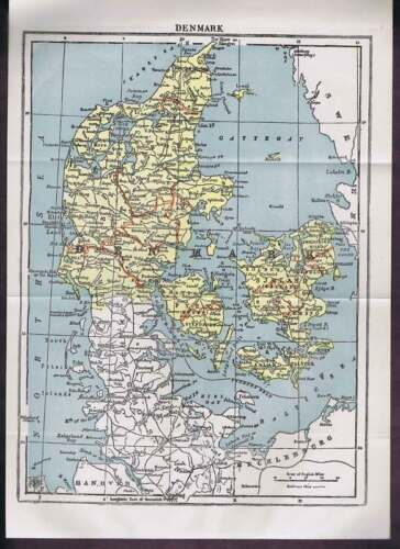 Denmark Century-Old 1904 COLOR MAP