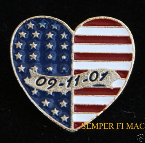 9-11 HEART USA FLAG NY WA PA US JEWELRY HAT PIN L@@KOther Militaria - 135