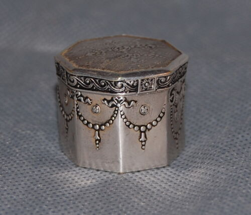 French Silver Neo Classical Patch Box Antique