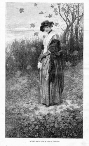 AUTUMN LEAVES BY HOWARD PYLE WOMAN WEARING VICTORIAN DRESS VINTAGE FASHION