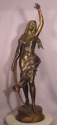 Superb Rare Large French Antique Bronze Nude Lady Etoile De Berger Levasseur 29""