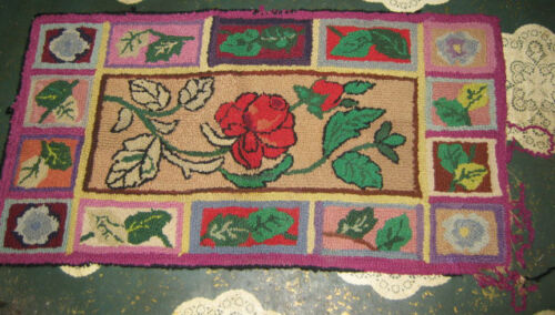 ANTIQUE FLOWER GARDEN ROSE PLANT HOOK TEXTILE COUNTRY HOME RUG CARPET HOOKED PIN
