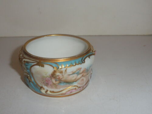 EXQUISITE ANTIQUE SEVRES PORCELAIN NAPKIN RING  HAND PAINTED  ANGEL CHERUB CUPID