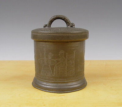 Antique Superb Dutch Groats - Box Pewter Engraved 18th C Marked Man + Woman