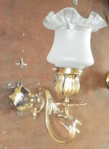 FRENCH ROCOCO BRASS WALL SCONCE W/ ANTIQUE SHADE 4864