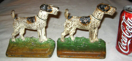 ANTIQUE # 294 HUBLEY AIREDALE FOX TERRIER CAST IRON DOG ART STATUE BOOKENDS TOY