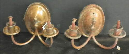 ANTIQUE AS FOUND PAIR OF BRASS 2 ARM WALL SCONCES W/ OVAL BACK PLATE INV. # 3243