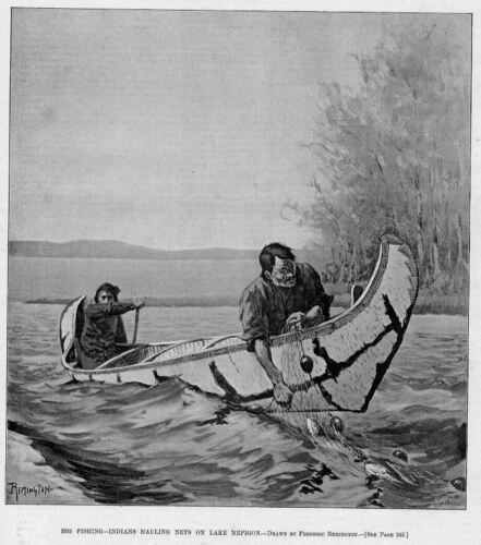 FREDERIC REMINGTON FISHING INDIANS BIRCH BARK CANOE PADDLE FISH NET LAKE NEPIGON