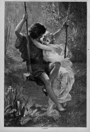 YOUNG BOY AND GIRL IN LOVE SWINGING ON THE SWING SUNSHINE 1874 ANTIQUE ENGRAVING