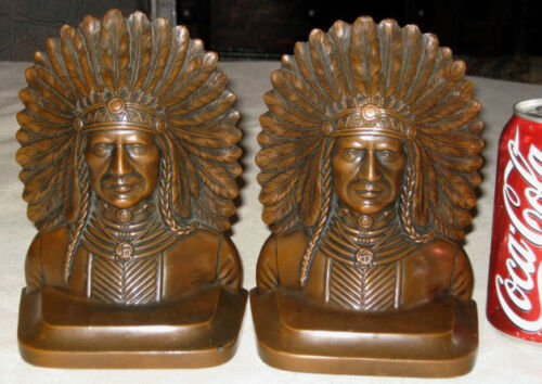 ANTIQUE JENNINGS BROTHERS INDIAN WAR SWASTIKA ART STATUE SCULPTURE BOOKENDS TOOL