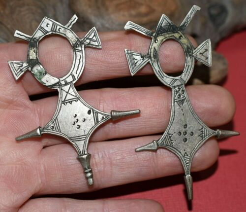 2 Antique Tuareg Ethnic Silver Metal Tribal Crosses Collected From Niger, Africa