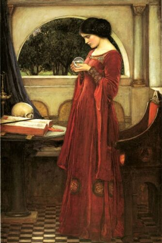 The Crystal Ball Fashion Lady by John William Waterhouse Fine ART Repro FREE S/H
