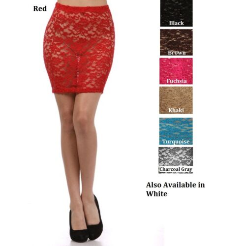 SHEER LACE FORM FITTING MINI SKIRT SHORT LENGTH O/S S - L