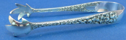 BALTIMORE ROSE-SCHOFIELD STERLING LARGE SUGAR TONGS WITH DECORATED BACK-NO MONO