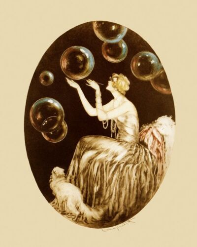 Icart Bubbles Cat Lady Vintage Art Deco Poster Reproduction FREE SHIPPING