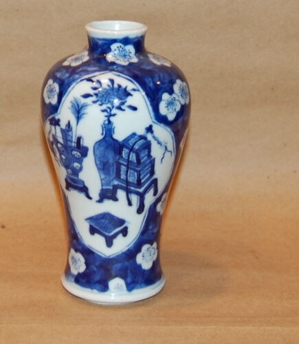 Chinese Porcelain Blue White Prunus Design and Antiques Scroll Pot Small Vase