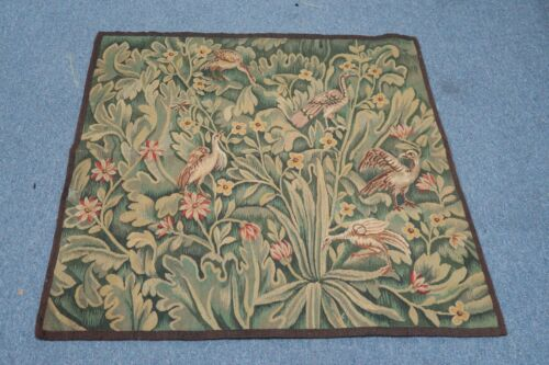 """Old Antique Flemish Verdure  Tapestry Textile Hand Woven Silk & Wool 32"""" x 32"""""""