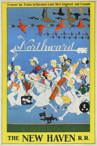 NORTHWARD by JOHN HELD JR vintage ad poster USA 1930 24X36 COLLECTORS UNIQUE