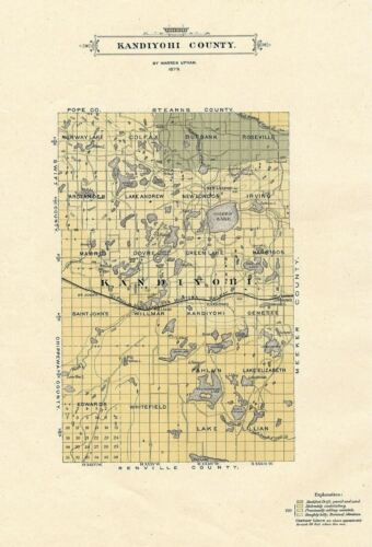 KANDIYOHI COUNTY AND TOWNSHIPS, MINNESOTA, RARE 1879 ANTIQUE MAP BY WARREN UPHAM