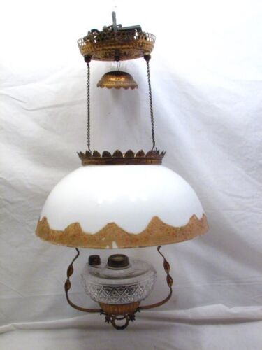 Antique Hanging Fluid Lamp w/Dome Milk Glass Shade Parlor Light Ornate Oil