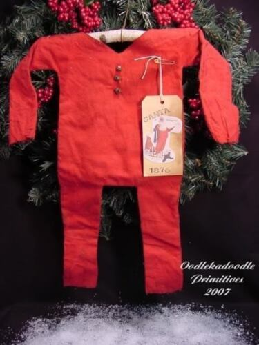 Primitive Santa's Red Underware Christmas Door Greeter Doll Craft Paper Pattern