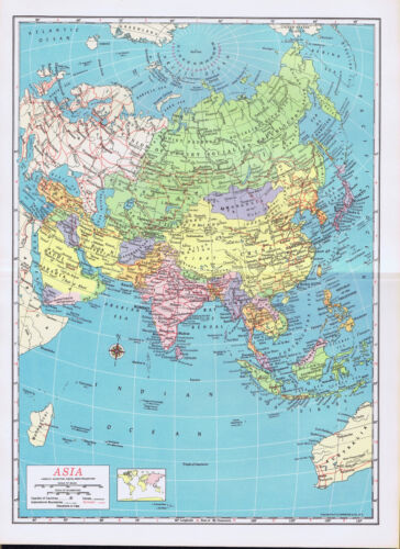 ASIA VINTAGE COLOR MAP 1962  50+ years old