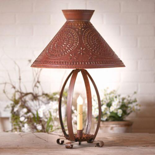 Primitive new large rusty punched tin table lamp w/ tin shade /FREE SHIPPING