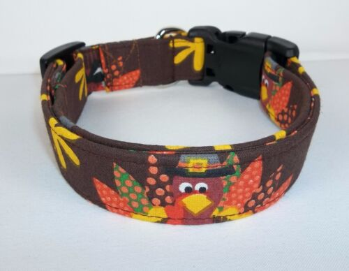Thanksgiving Turkey by Terri's Dog Collar custom made adjustable charming fabric
