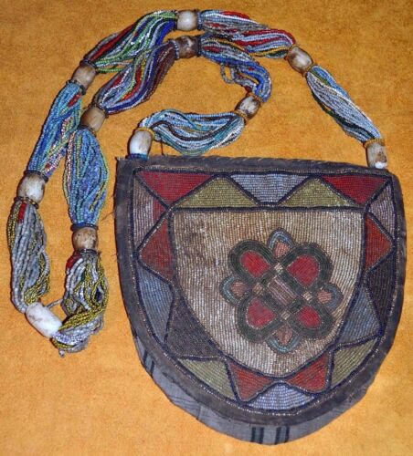 Antique Yoruba Seed Beaded Shaman Diviner's Necklace Ceremony Bag Nigeria Africa