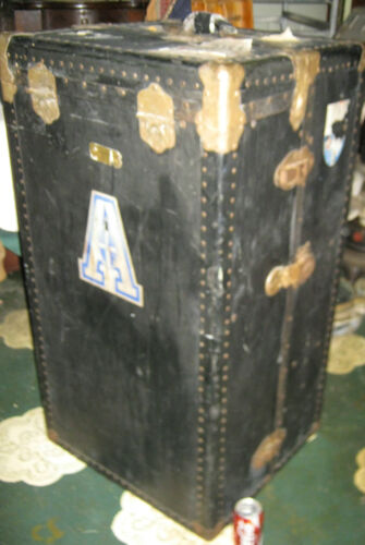 ANTIQUE HUGE SIZE STEAMER SEA SHIP TRAVEL TRUNK HARDWARE DRAW CHEST TABLE BENCH