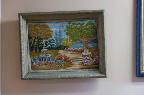 Vintage Fine Micro Petit Point Tapestry Needlepoint Hand Stitched Scene Framed