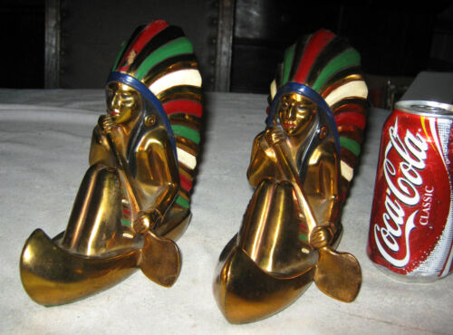 ANTIQUE RONSON 6 1/2 LB AMERICAN INDIAN MAN IN CANOE BOAT ART STATUE BOOKENDS