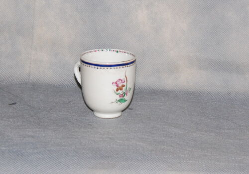 Chinese Export Porcelain Famille Rose Blue Line Border Floral Coffee Cup Antique