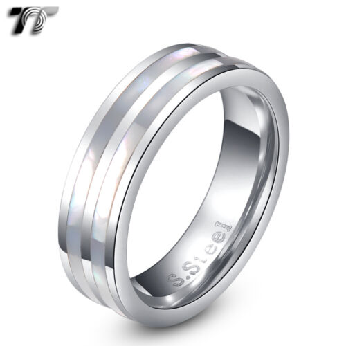 TT 6mm S.Steel Inlaid Double Mother Pearl Stripe Wedding Band Ring (R195)